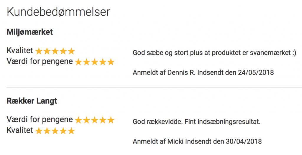 Vinduessæbe feedback